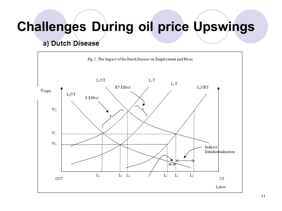 11 Challenges During oil price Upswings 0T0NT Wages Fig 2: The Impact of the Dutch Disease on Employment and Prices L 0 NT L0TL0T L 0 NBT W0W0 L0L0 L 0 L1TL1T W1W1 L 1 L1L1 L 1 NT W2W2 L2L2 L 2 S Effect R m Effect Indirect Deindustrialization Labor a) Dutch Disease