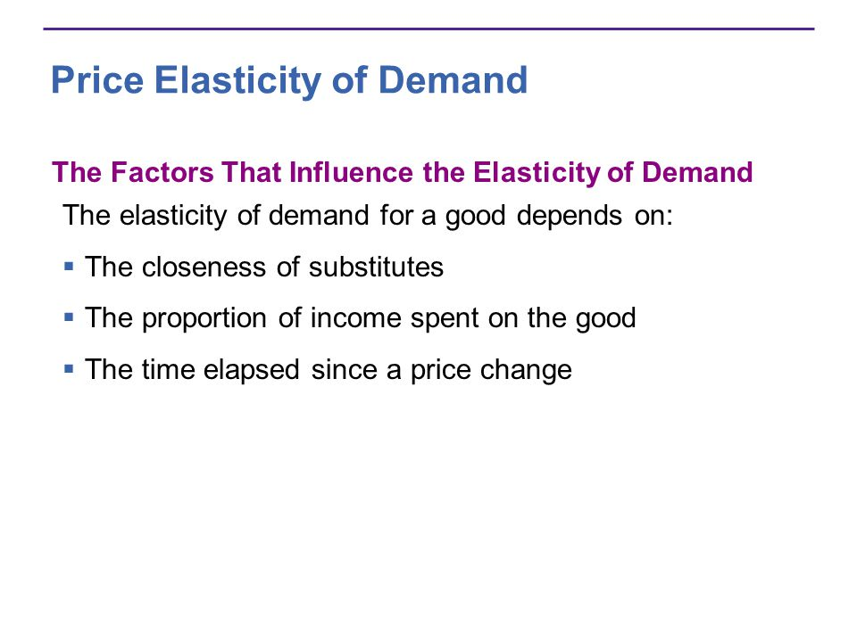 Price Elasticity of Demand The Factors That Influence the Elasticity of Demand The elasticity of demand for a good depends on: The closeness of substi