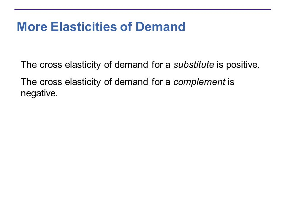 More Elasticities of Demand The cross elasticity of demand for a substitute is positive. The cross elasticity of demand for a complement is negative.