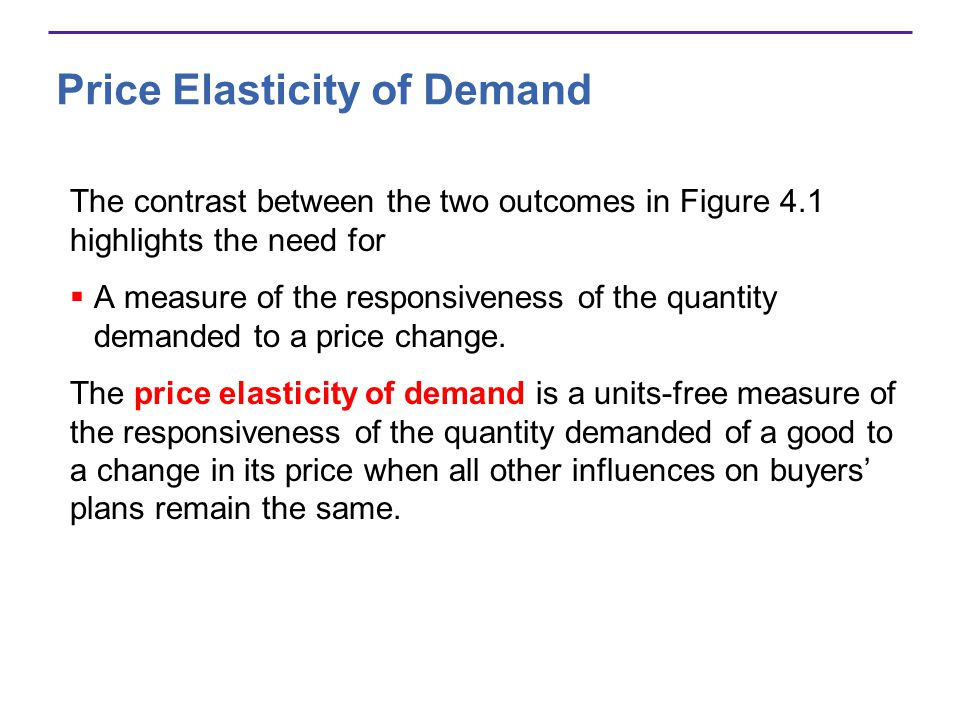 Calculating Elasticity The price elasticity of demand is calculated by using the formula: Percentage change in quantity demanded Percentage change in price