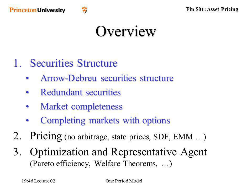 Fin 501: Asset Pricing 19:48 Lecture 02One Period Model Overview 1.Securities Structure Arrow-Debreu securities structureArrow-Debreu securities structure Redundant securitiesRedundant securities Market completenessMarket completeness Completing markets with optionsCompleting markets with options 2.Pricing (no arbitrage, state prices, SDF, EMM …) 3.Optimization and Representative Agent (Pareto efficiency, Welfare Theorems, …)