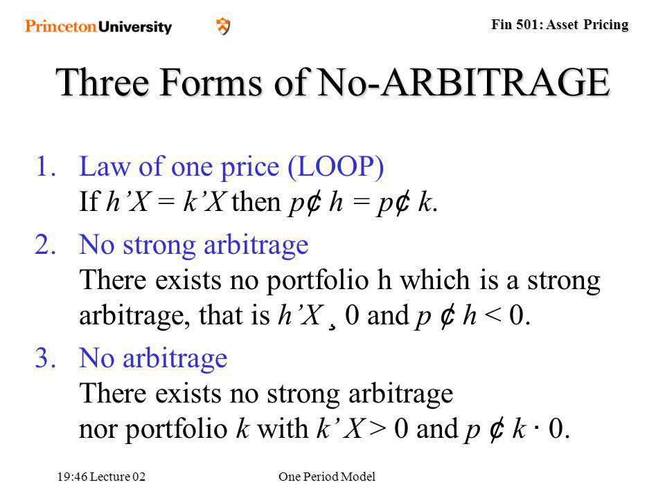 Fin 501: Asset Pricing 19:48 Lecture 02One Period Model Three Forms of No-ARBITRAGE 1.Law of one price (LOOP) If hX = kX then p ¢ h = p ¢ k.