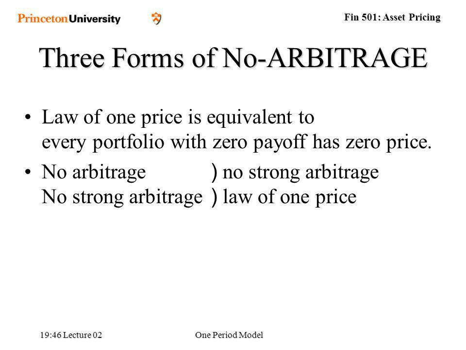 Fin 501: Asset Pricing 19:48 Lecture 02One Period Model Law of one price is equivalent to every portfolio with zero payoff has zero price.