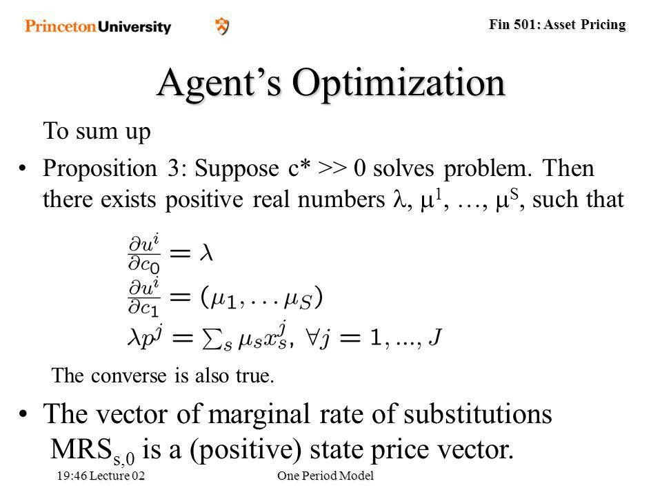 Fin 501: Asset Pricing 19:48 Lecture 02One Period Model Agents Optimization To sum up Proposition 3: Suppose c* >> 0 solves problem.