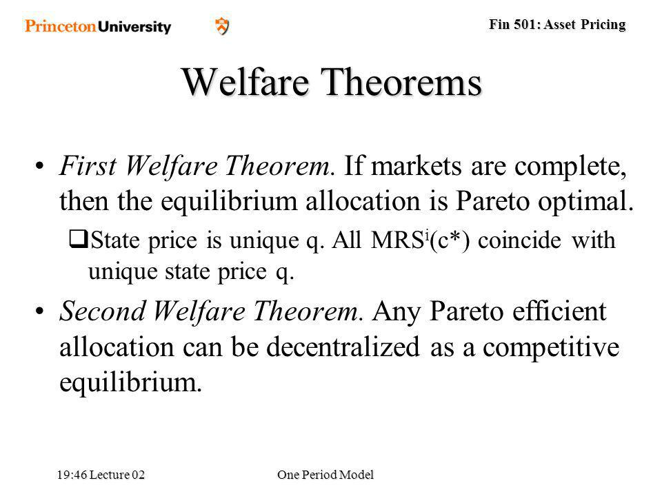 Fin 501: Asset Pricing 19:48 Lecture 02One Period Model Welfare Theorems First Welfare Theorem.