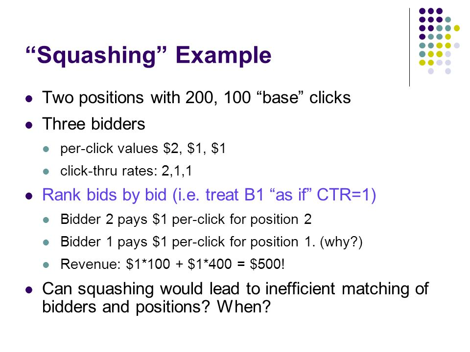 Squashing Example Two positions with 200, 100 base clicks Three bidders per-click values $2, $1, $1 click-thru rates: 2,1,1 Rank bids by bid (i.e.
