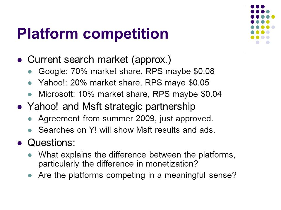 Platform competition Current search market (approx.) Google: 70% market share, RPS maybe $0.08 Yahoo!: 20% market share, RPS maye $0.05 Microsoft: 10% market share, RPS maybe $0.04 Yahoo.