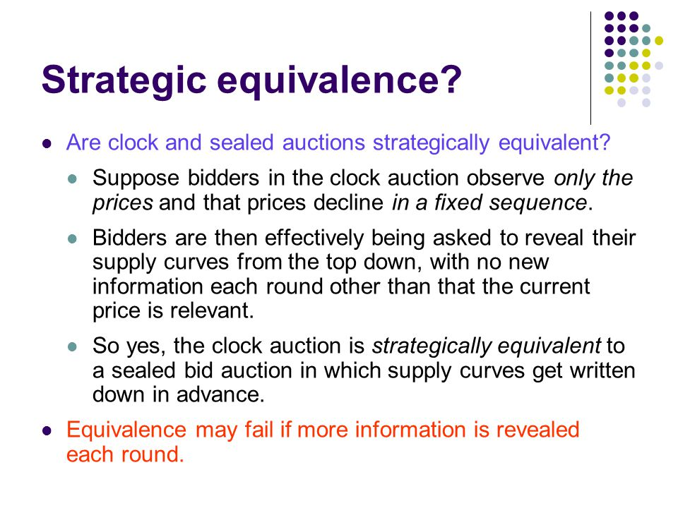Strategic equivalence. Are clock and sealed auctions strategically equivalent.