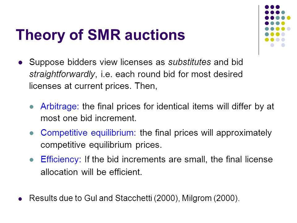 Theory of SMR auctions Suppose bidders view licenses as substitutes and bid straightforwardly, i.e.