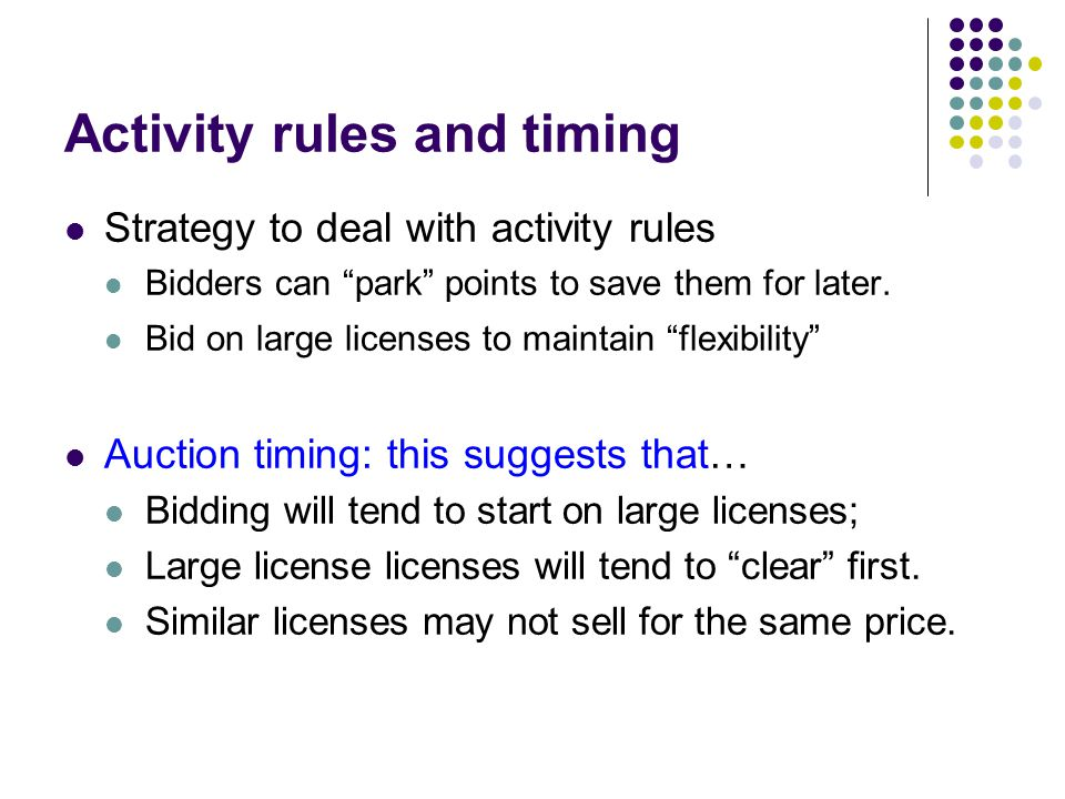 Activity rules and timing Strategy to deal with activity rules Bidders can park points to save them for later.
