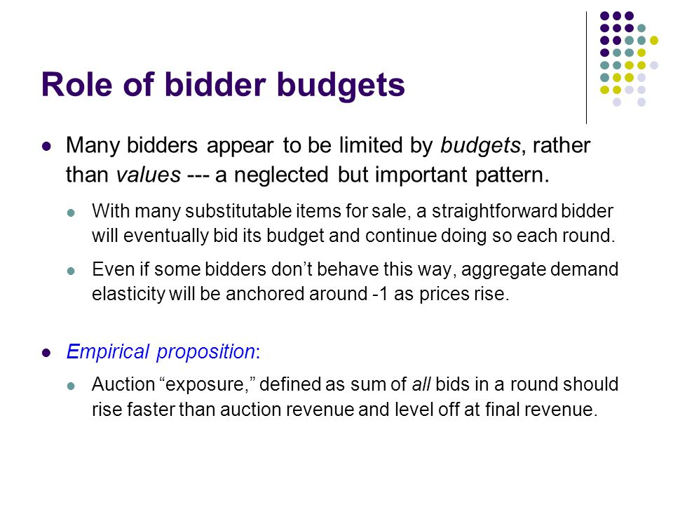 Role of bidder budgets Many bidders appear to be limited by budgets, rather than values --- a neglected but important pattern.