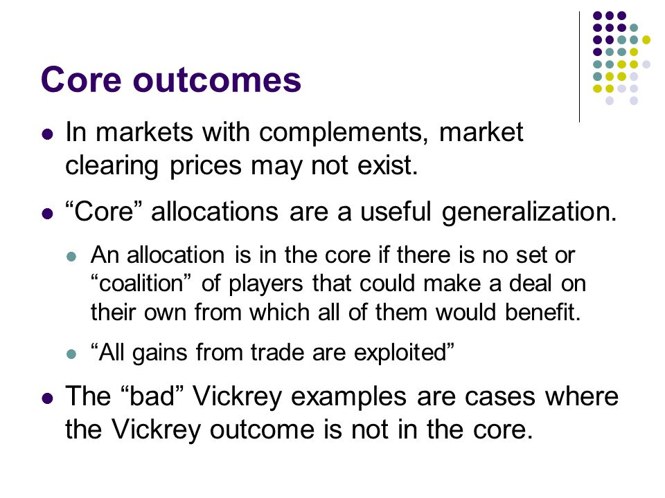 Core outcomes In markets with complements, market clearing prices may not exist.