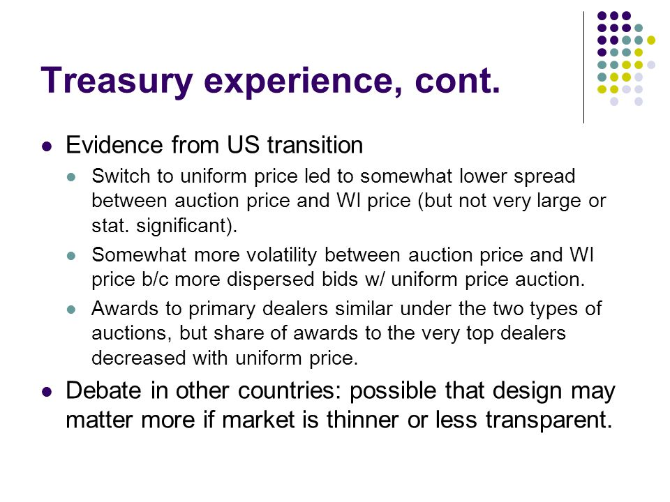 Treasury experience, cont.