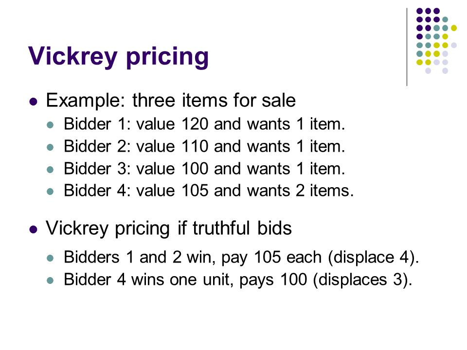 Vickrey pricing Example: three items for sale Bidder 1: value 120 and wants 1 item.
