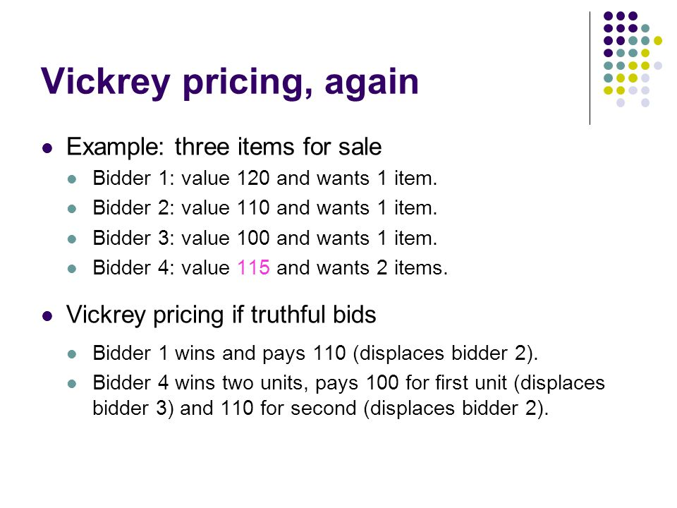 Vickrey pricing, again Example: three items for sale Bidder 1: value 120 and wants 1 item.