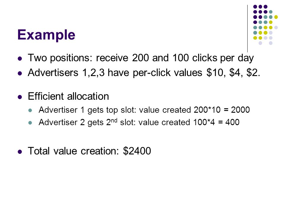 Example Two positions: receive 200 and 100 clicks per day Advertisers 1,2,3 have per-click values $10, $4, $2.