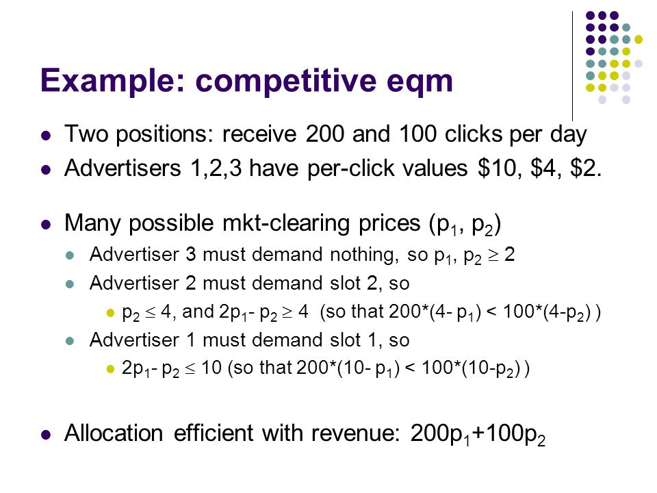 Example: competitive eqm Two positions: receive 200 and 100 clicks per day Advertisers 1,2,3 have per-click values $10, $4, $2.