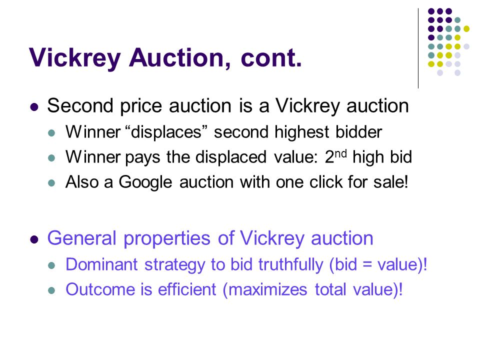 Vickrey Auction, cont.