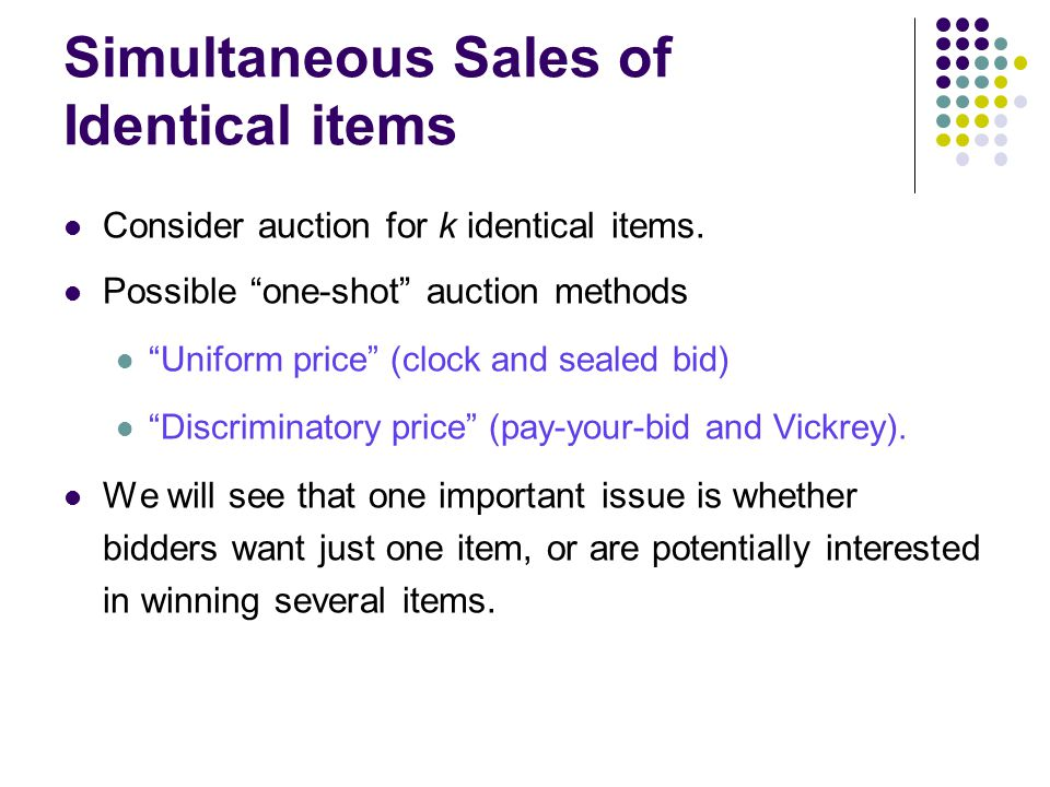 Simultaneous Sales of Identical items Consider auction for k identical items.