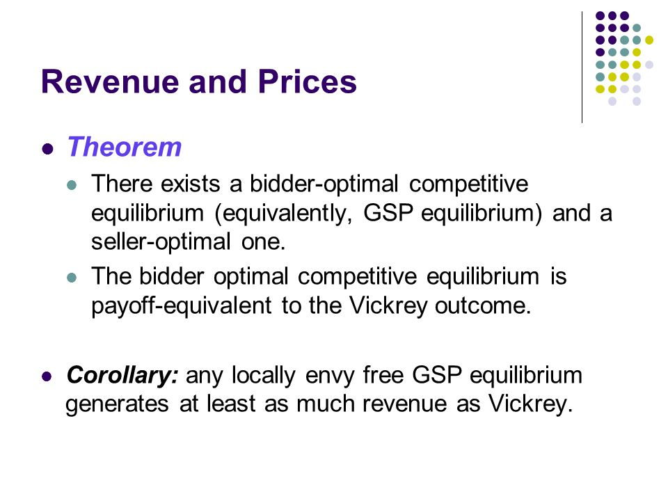 Revenue and Prices Theorem There exists a bidder-optimal competitive equilibrium (equivalently, GSP equilibrium) and a seller-optimal one.