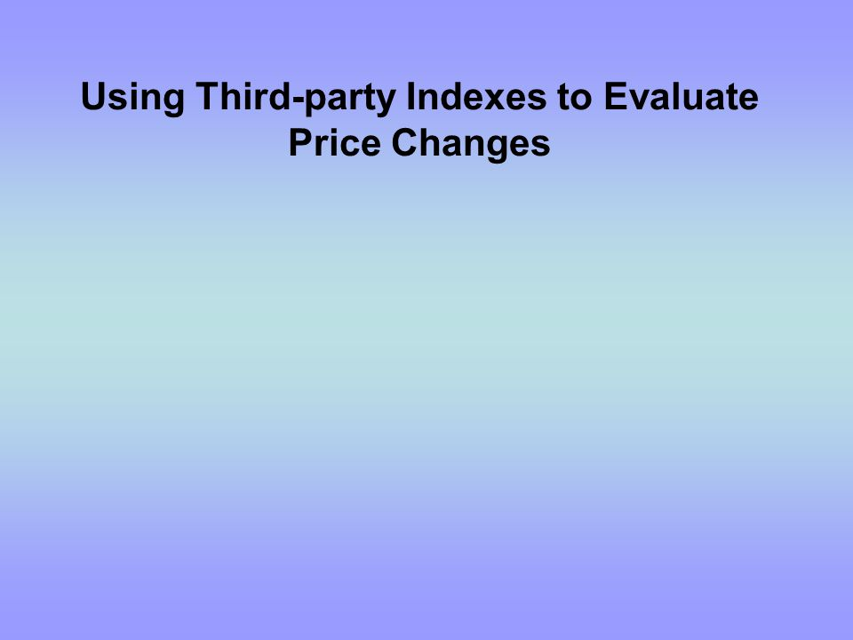 My purpose is to share some lessons learned while using third-party indexes, to give you practical experience in using indexes, and to give a basic understanding of the PPI (Producer Price Index), the Gasoline and Diesel Fuel Update, and other indexes.