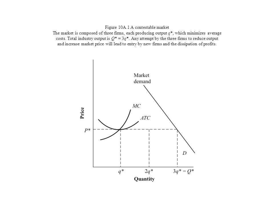 Figure 10A.1 A contestable market The market is composed of three firms, each producing output q*, which minimizes average costs. Total industry outpu