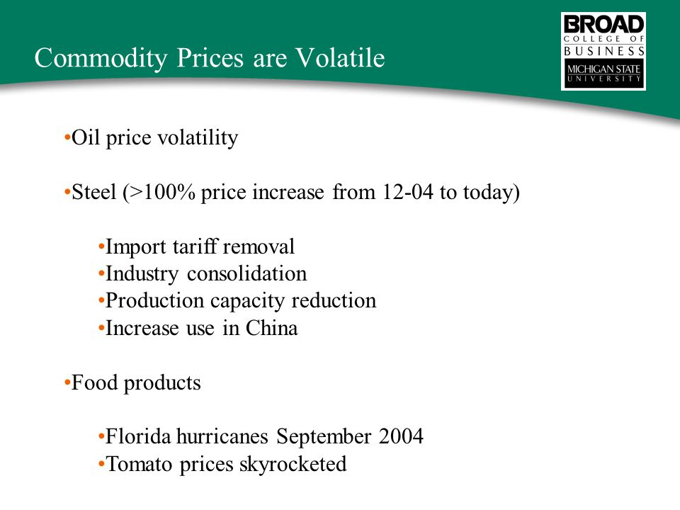 Commodity Prices are Volatile Oil price volatility Steel (>100% price increase from 12-04 to today) Import tariff removal Industry consolidation Production capacity reduction Increase use in China Food products Florida hurricanes September 2004 Tomato prices skyrocketed
