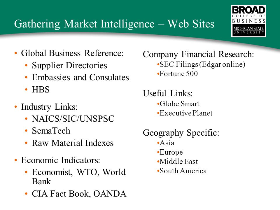 Gathering Market Intelligence – Web Sites Global Business Reference: Supplier Directories Embassies and Consulates HBS Industry Links: NAICS/SIC/UNSPSC SemaTech Raw Material Indexes Economic Indicators: Economist, WTO, World Bank CIA Fact Book, OANDA Company Financial Research: SEC Filings (Edgar online) Fortune 500 Useful Links: Globe Smart Executive Planet Geography Specific: Asia Europe Middle East South America