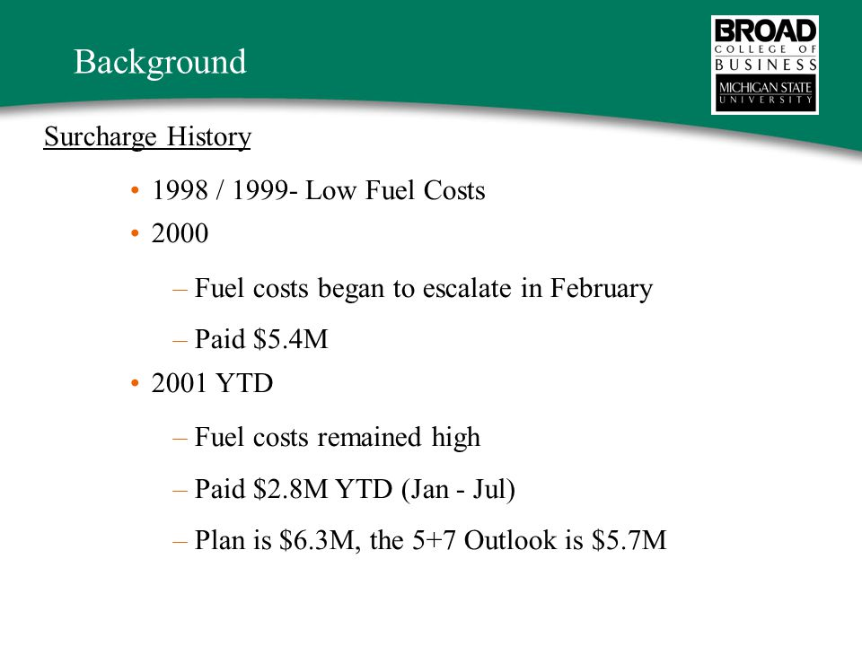Background Surcharge History 1998 / 1999- Low Fuel Costs 2000 –Fuel costs began to escalate in February –Paid $5.4M 2001 YTD –Fuel costs remained high –Paid $2.8M YTD (Jan - Jul) –Plan is $6.3M, the 5+7 Outlook is $5.7M