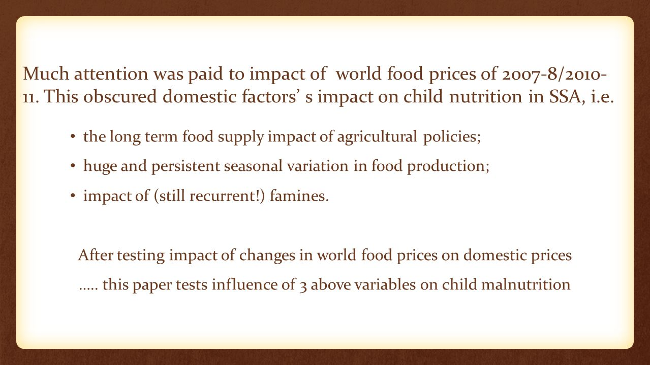How large the transmission of world food prices on domestic food prices in SSA.