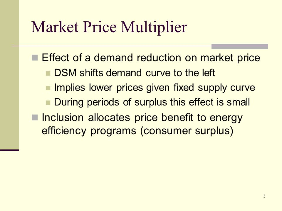 3 Market Price Multiplier Effect of a demand reduction on market price DSM shifts demand curve to the left Implies lower prices given fixed supply curve During periods of surplus this effect is small Inclusion allocates price benefit to energy efficiency programs (consumer surplus)