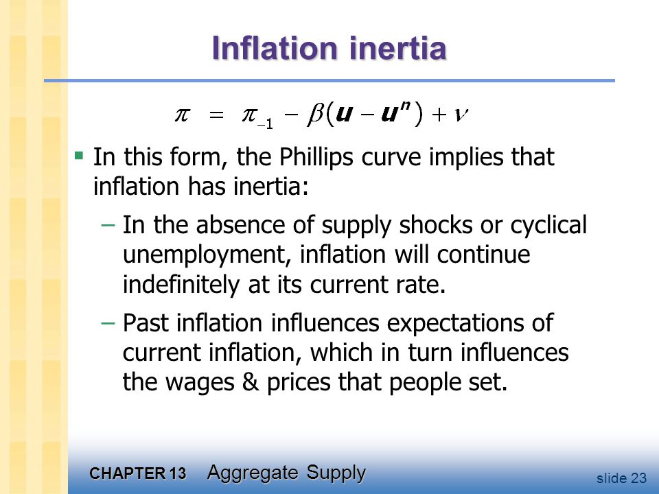 CHAPTER 13 Aggregate Supply slide 23 Inflation inertia In this form, the Phillips curve implies that inflation has inertia: –In the absence of supply shocks or cyclical unemployment, inflation will continue indefinitely at its current rate.