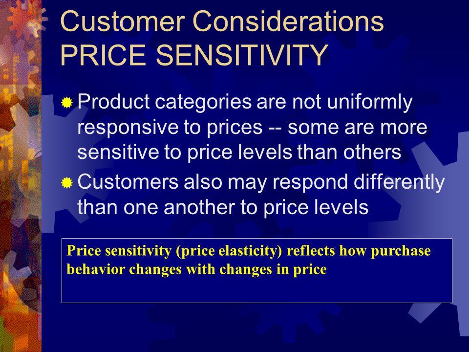 Pricing Considerations PRICE SENSITIVITY Price Quantity Demanded per Period A.