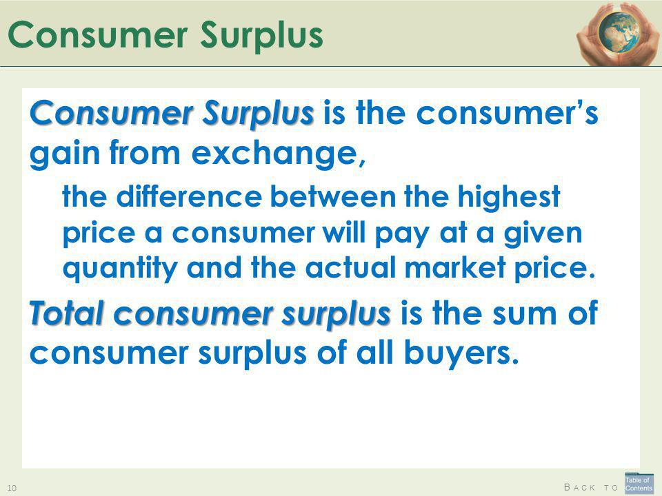 B ACK TO Consumer Surplus Consumer Surplus Consumer Surplus is the consumers gain from exchange, the difference between the highest price a consumer w