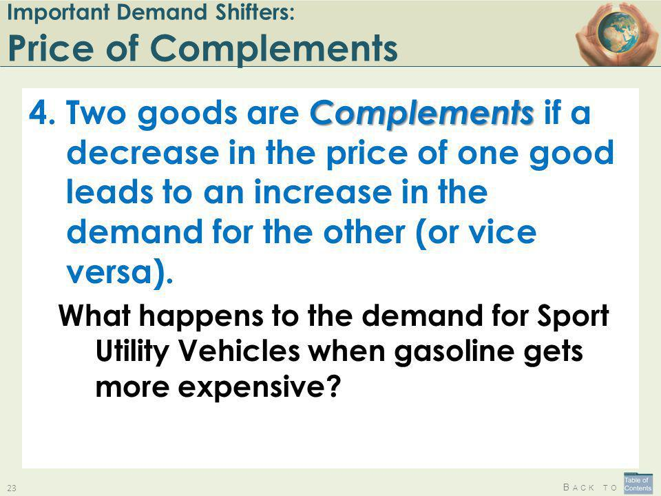 B ACK TO Important Demand Shifters: Price of Complements Complements 4.Two goods are Complements if a decrease in the price of one good leads to an in