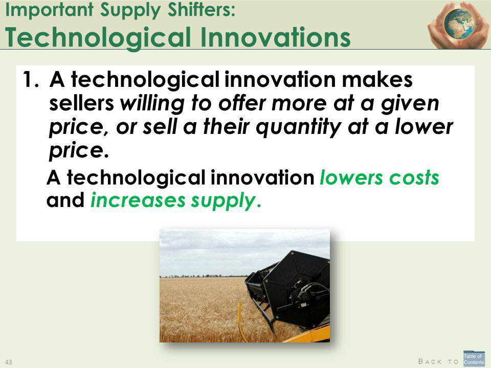B ACK TO Important Supply Shifters: Technological Innovations 1.A technological innovation makes sellers willing to offer more at a given price, or se
