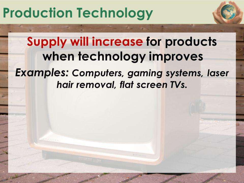 B ACK TO Production Technology Supply will increase for products when technology improves Examples: Computers, gaming systems, laser hair removal, fla