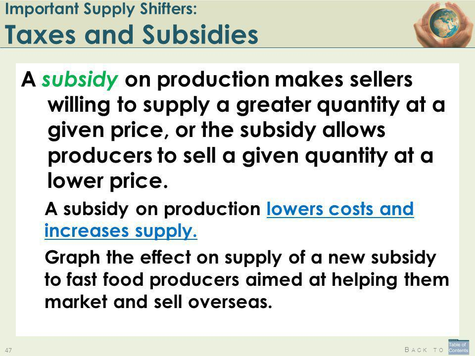 B ACK TO Important Supply Shifters: Taxes and Subsidies A subsidy on production makes sellers willing to supply a greater quantity at a given price, o