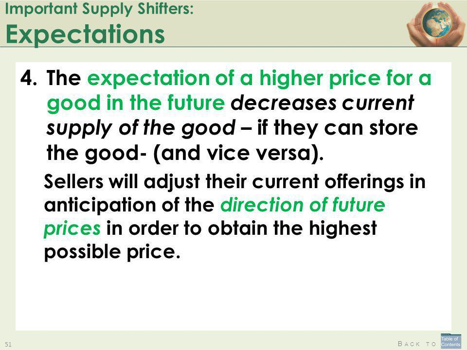 B ACK TO Important Supply Shifters: Expectations 4.The expectation of a higher price for a good in the future decreases current supply of the good – i