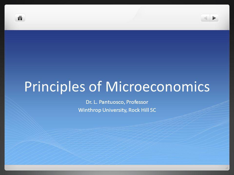 Principles of Microeconomics Dr. L. Pantuosco, Professor Winthrop University, Rock Hill SC