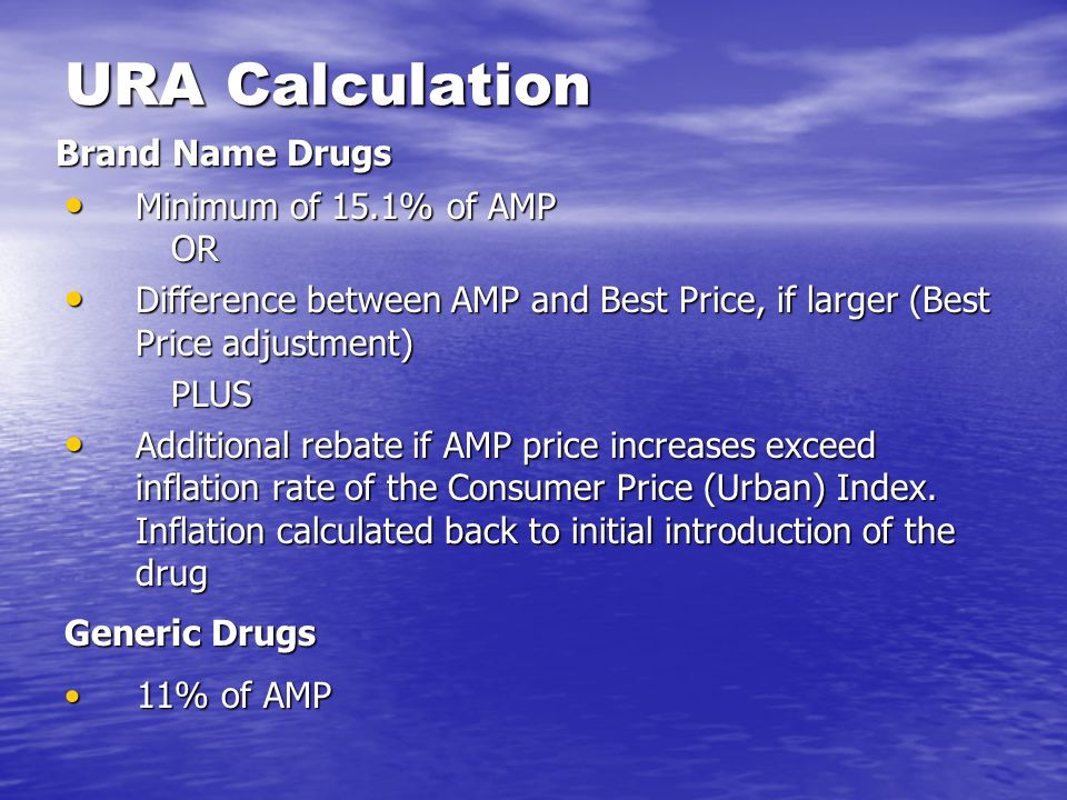 URA Calculation Minimum of 15.1% of AMP OR Minimum of 15.1% of AMP OR Difference between AMP and Best Price, if larger (Best Price adjustment) Differe