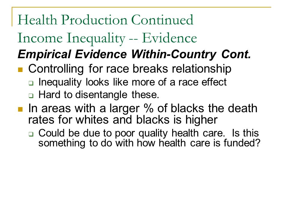 Health Production Continued Income Inequality -- Evidence Empirical Evidence Within-Country Cont. Controlling for race breaks relationship Inequality