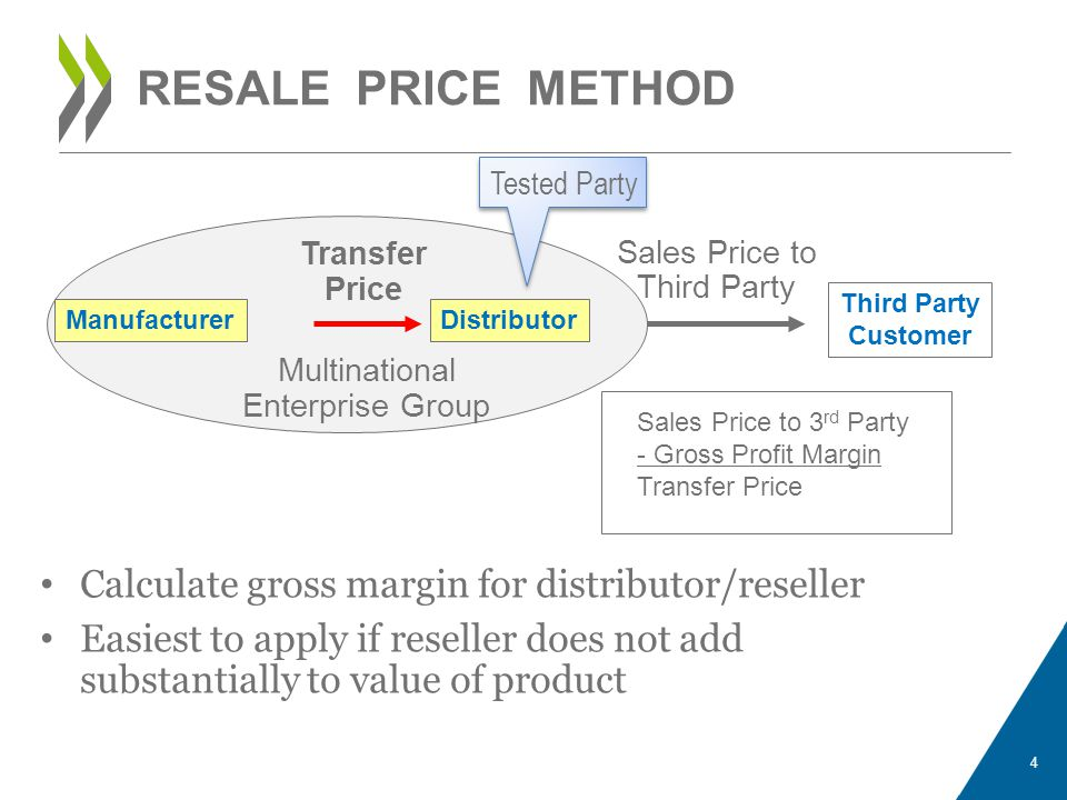 Calculate gross margin for distributor/reseller Easiest to apply if reseller does not add substantially to value of product 4 RESALE PRICE METHOD Dist
