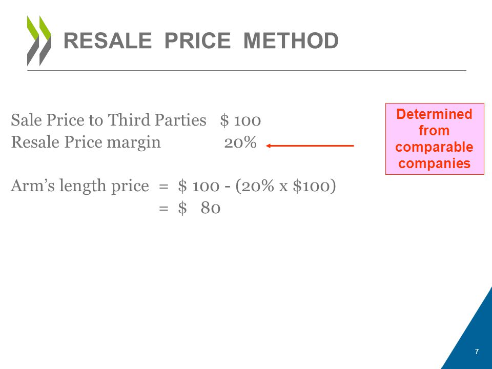 Determined from comparable companies Sale Price to Third Parties $ 100 Resale Price margin 20% Arms length price = $ 100 - (20% x $100) = $ 80 7 RESAL