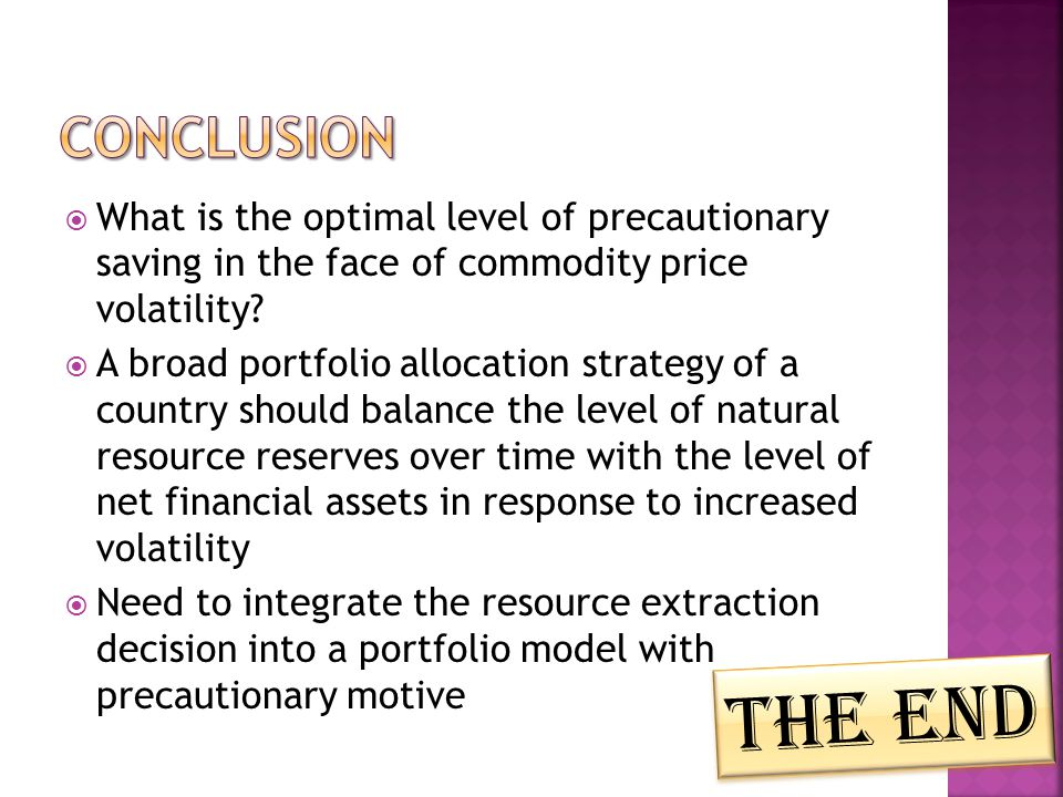 What is the optimal level of precautionary saving in the face of commodity price volatility.