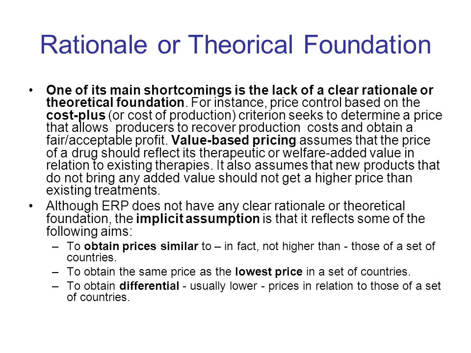 Rationale or Theorical Foundation One of its main shortcomings is the lack of a clear rationale or theoretical foundation.