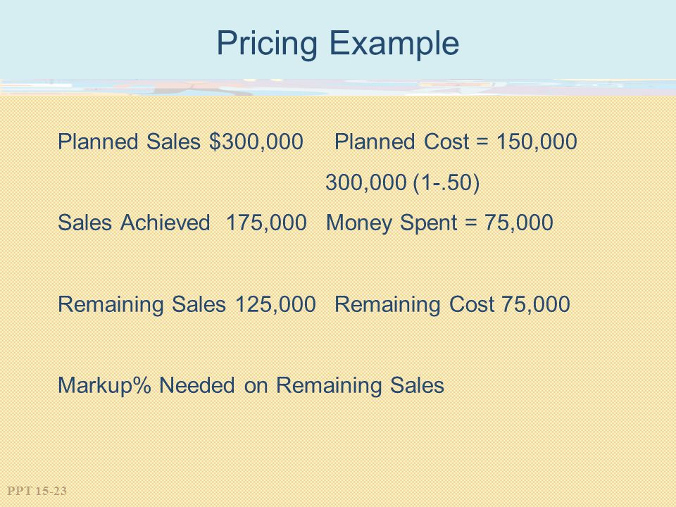 PPT 15-23 Pricing Example Planned Sales $300,000 Planned Cost = 150,000 300,000 (1-.50) Sales Achieved 175,000 Money Spent = 75,000 Remaining Sales 12