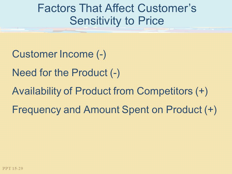 PPT 15-29 Factors That Affect Customers Sensitivity to Price Customer Income (-) Need for the Product (-) Availability of Product from Competitors (+)