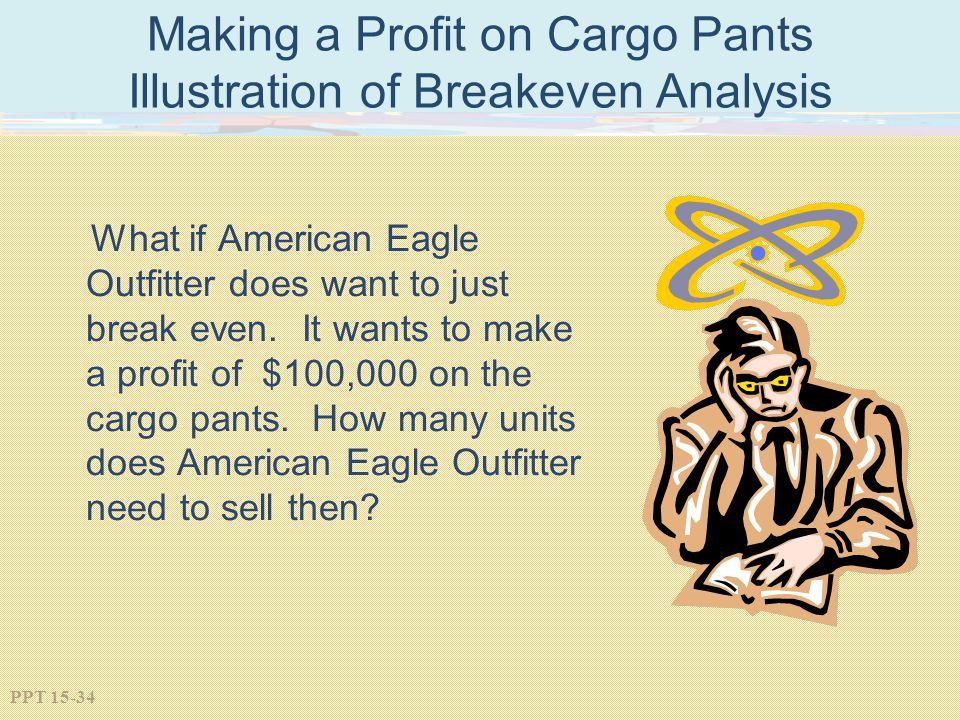 PPT 15-34 Making a Profit on Cargo Pants Illustration of Breakeven Analysis What if American Eagle Outfitter does want to just break even. It wants to