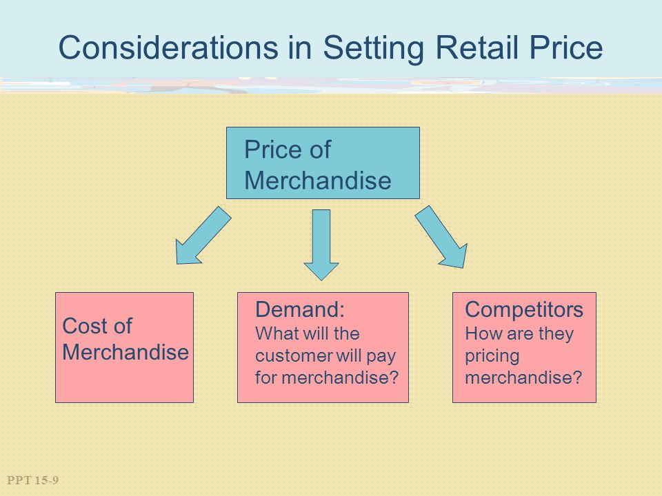 PPT 15-9 Considerations in Setting Retail Price Price of Merchandise Cost of Merchandise Demand: What will the customer will pay for merchandise? Comp